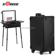 Professional beauty makeup vanity case / trolley makeup box with lighted mirror