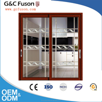 3.0 mm thick elegant heavy duty series wooden color sliding door for villa