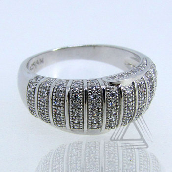 White Diamond CZ, Contemporary Style, Fashion Ring