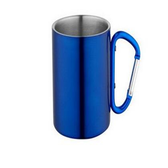 Double Wall Stainless Steel small coffee mug with caribiner handle