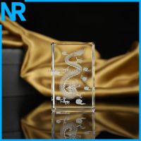 Glass cube/block 3d laser engraved dragon crystal