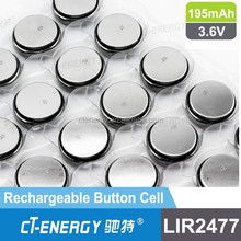 Long cycle life battery 3.6 V lithium ion battery LIR2477 for key battery