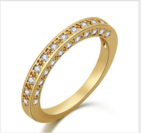 Fashion latest design 14k gold plated copper alloy eternity band zirconia ring