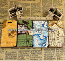 2013 new wallet fashion map leather case for iphone 5,Stripe stand case for iphone 5