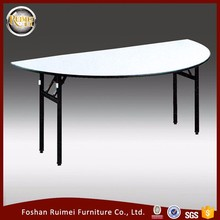 Good quality heavy duty foldable plywood dining room wedding half moon banquet table