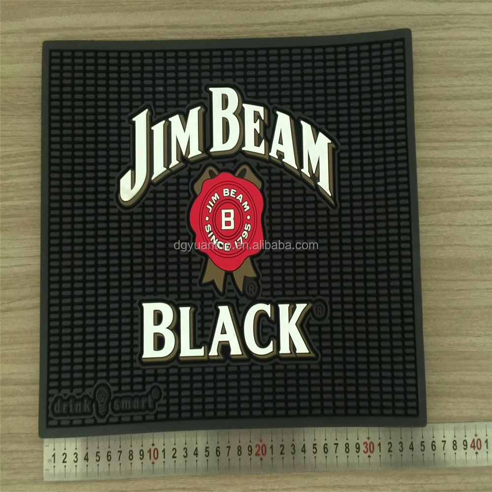 Advertising jim beam logo bar mats with emobossed effect