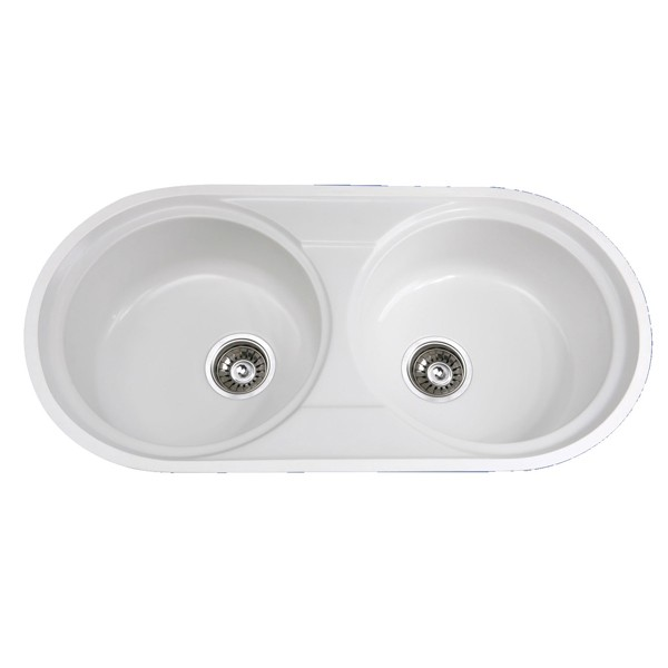 KKR Professional Factory Supply Good Quality solid surface commercial bathroom double sinks