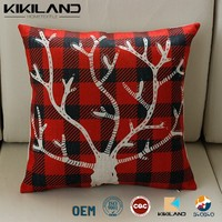 christmas embroidery plaid sofa pillow case Cushion covers