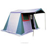 six person two sleeping room cotton family camping tent with big canopy , mud-skirt and metal frame