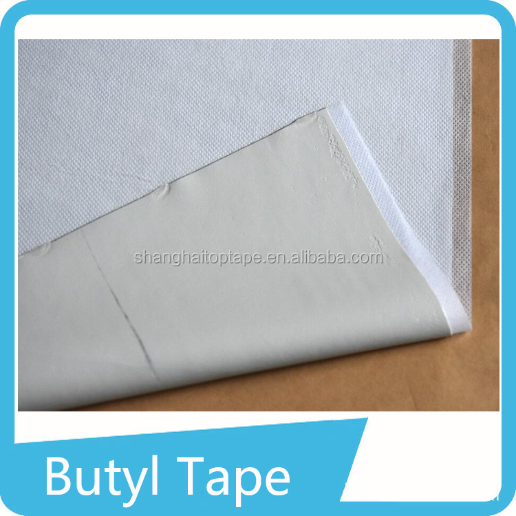 Flexible adhesive backed anti-solvent roof butyl putty tape