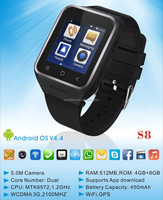 Support Facebook Skype whatsapp Watch / 3g Android Smart Watch Phone with cheap price