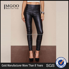 MGOO Wholesale Cheap Black Leather Pants For Women Stretch Sexy Zip Up Side Pockets Winter Pants
