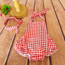 Red plaid rompers petti ruffled shorts kids clothing set head accessory organic baby romper