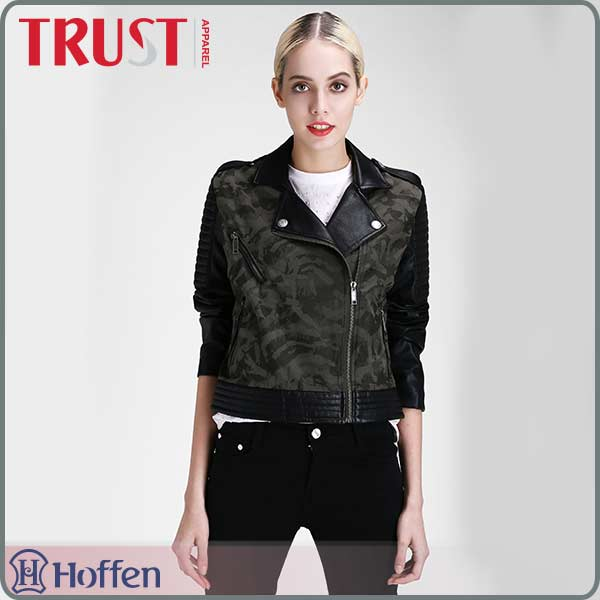Camouflage tartan design army green windproof bomber jacket with PU leather sleeves