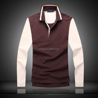 2015 Mens long sleeve t shirt with striped collar and cuffs,Golf Polo t-shirt
