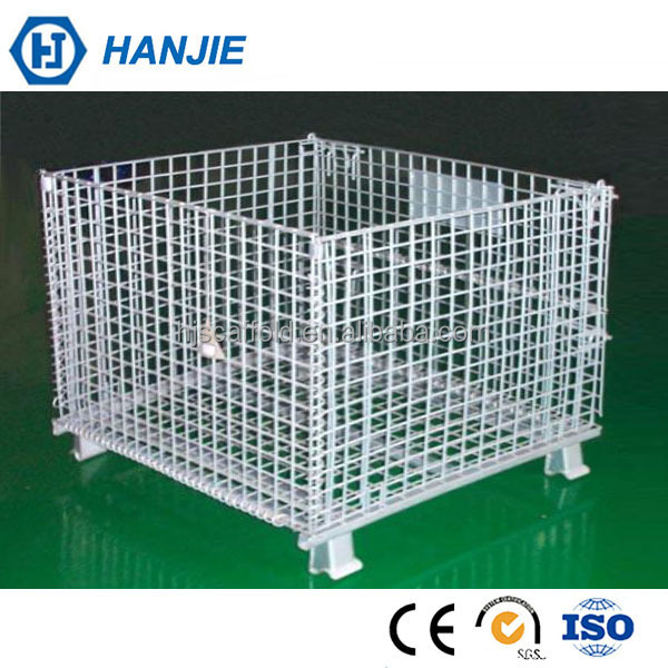 Galvanized Iron 4.8-10mm wire welded folding steel storage cage