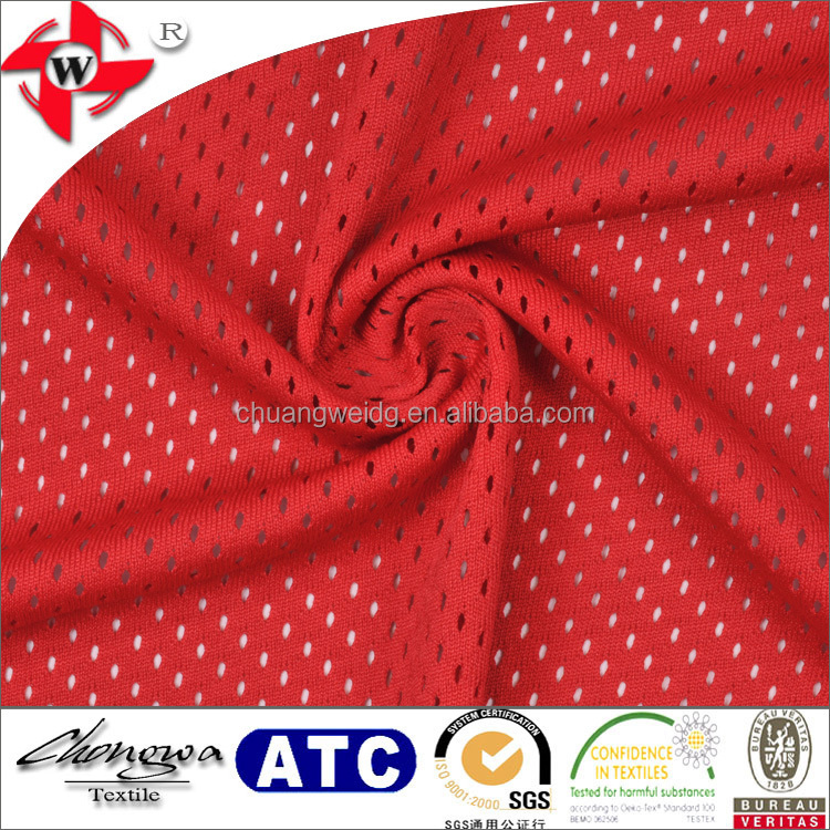 Chuangwei Textile perforated jersey fabric texture mesh sports team fabric