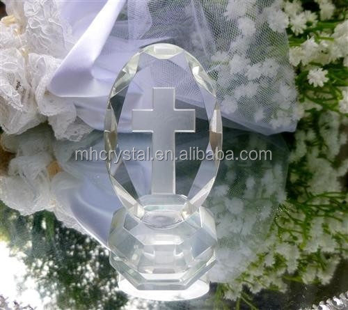 Oval Crystal Plaque Glass Bomboniere Cross MH-G0343