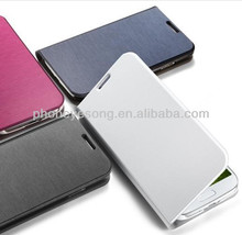 Wire Drawing Wallet Leather Case for Samsung S4 With Card Slot