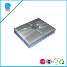 Pure silk white gate fold wedding invitation card box for royal marriage with silk folio invitations