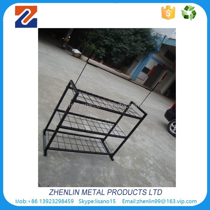3- tier black metal wire auto car battery display rack manufacturer
