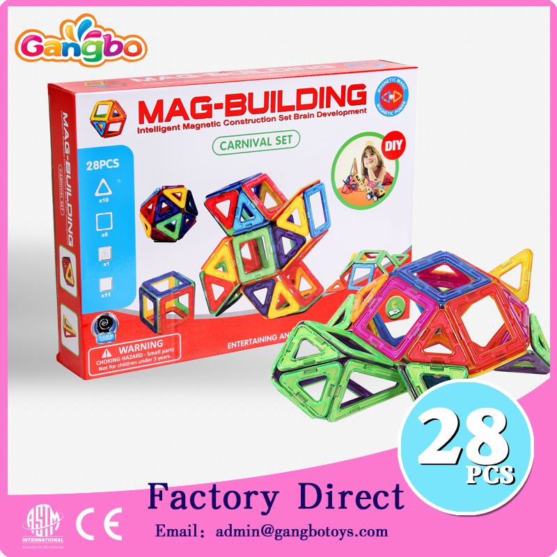 28 pcs Gangbo creative playmags simple building blocks toys Magformers Standard Set