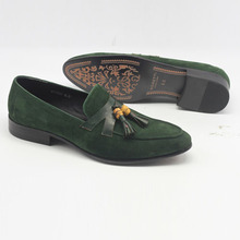 Gorgeous olive green goat suede loafers for men. Slip on shoes in green suede