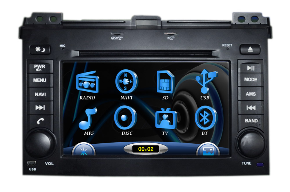 Car DVD for TOYOTA Land Cruiser Prado 120 with built-in GPS, Dual Zone, Digital Panel, RDS, Steering Wheel (TID-9216)