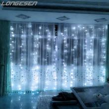 300 LED Window Curtain String Light for Wedding Party Home Garden Outdoor Indoor Wall Decorations light curtain (Warm White)