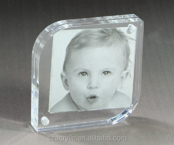 clear acrylic logo photo blocks with own factory