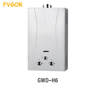 Home appliance low water pressure duct exhaust type gas water heater for showering room instant hot gas geyser