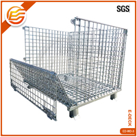 High quality steel stacking collapsible wire metal cage for storage