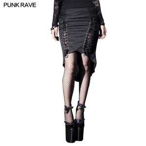 Q-182 PUNK RAVE Gothic Style Black Lady open leg sexy Long Fishtail Skirts