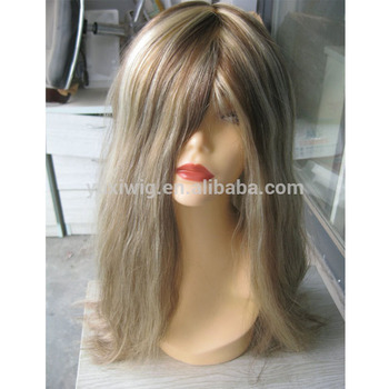 2016 High Grade two tone Blonde Light Brown Human Hair Toupee for Women
