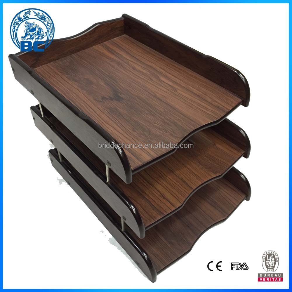 Wooden Three Layers Office Document Tray