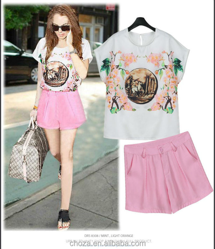 C11595C New Arrival European Fashion Design Printed Flower Shorts Suits For Lady's Clothes