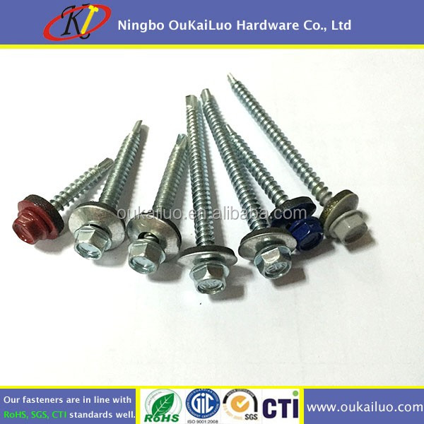 Epdm Washer Hex Head Self Drilling Roof Screw RAL