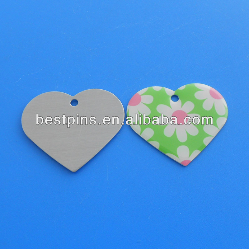 Sweet Heart Flower Flower Green Heart ID Tag for Pets Tag for Dog and Cat (AML-DT-131026-227)