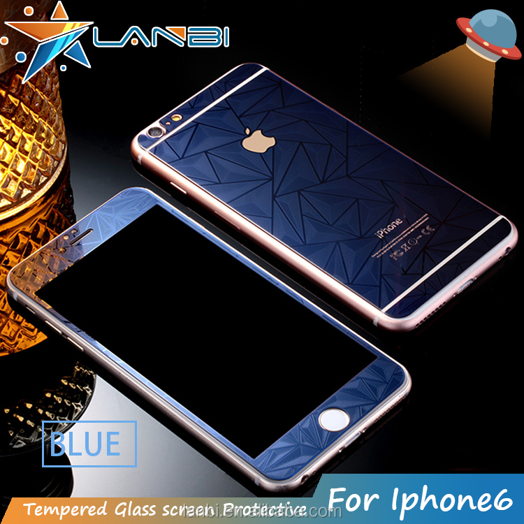 2016 factory price Colorful Plating 3D diamond Mirror Tempered Glass Screen Protector Protective Film For iPhone 6/6s