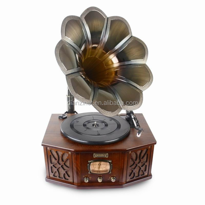 Antique Wooden gramophone phonograph with radio, USB and Bluetooth