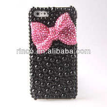 Rosered Diamond Bow Pearl black Hard Case Cover For iPhone 5 5S 5G