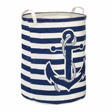Stripe round folding water resistant cotton linen laundry basket