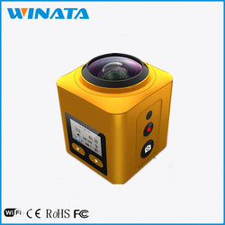 2016 New Arrival Cube 360 Sports Video Camera WIFI H.264 Action camera 360 Degree Panorama VR Camera