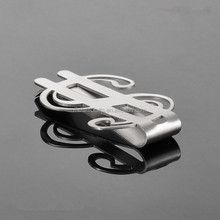 Stainless Steel $ Dollar Sign Money Clip Cash Card Holder Wallet 1.85''