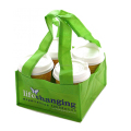 Easy carrying custom printed non woven 4 coffee cup bag
