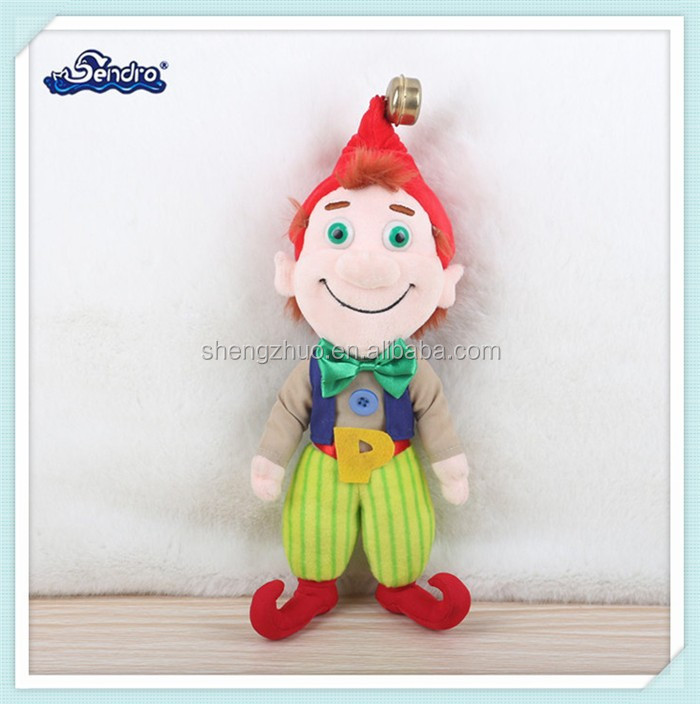 funny cartoon figure clown plush stuffed toys with bell