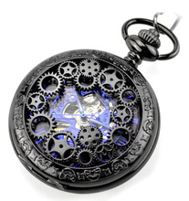 Fashion Retrp Blue Analog Hollow Case Skeleton Men Mechanical Pocket Watch Alloy Pendant Chain Steampunk Hand Winding Clock
