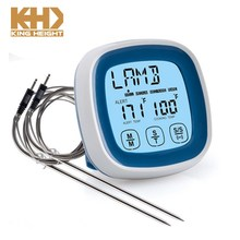 KH-0007 Touch Screen Food BBQ Kitchen Thermometer Digital Timer Alarm With Probe Meat Thermometer Cooking Temperature Gauge
