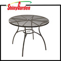 Commercial Steel Mesh Top Outdoor Bistro Cafe Patio Round Table with Umbrella Hole