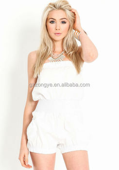 Fashion Sexy Strapless Clothes White Chiffon Ladies Rompers